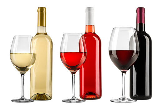 Row of exquisite red white and rose wine bottle glass set collection isolated on white background