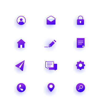 Modern Web Icons pack. Base set icons for site.