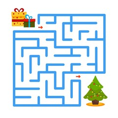 Maze game for children. Put gifts under the Christmas tree.