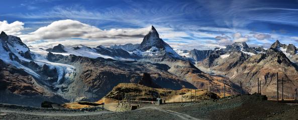 Amazing View of the panorama mountain range near the Matterhorn in the Swiss Alps. Trek near Matterhorn mount. Wall mural