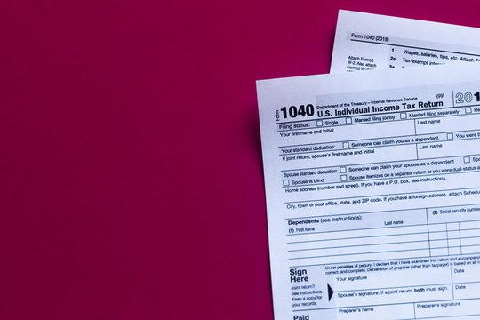 1040 irs tax tables 2018
