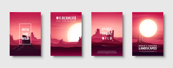 Desert trip. Extreme tourism and travelling. Back to nature. Sands. Exploring Africa. Horizont line with sky. Mountaines. Vector illustration.