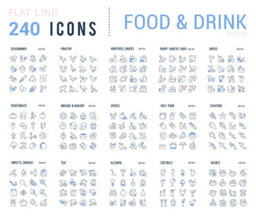 Collection Linear Icons of Food and Drinks.