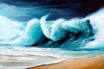 Original oil painting of big waves on the sea