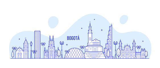 Fototapete - Bogota skyline Distrito Capital Colombia a vector