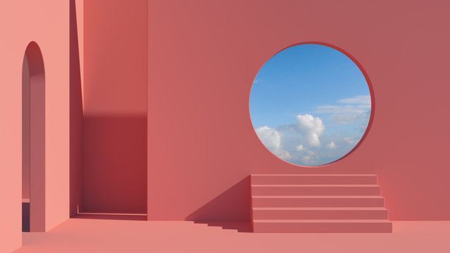 Arch and stairs in trendy minimal interior. 3d render illustration in modern geometric style. Coral pastel colors background for banners for product presentation.