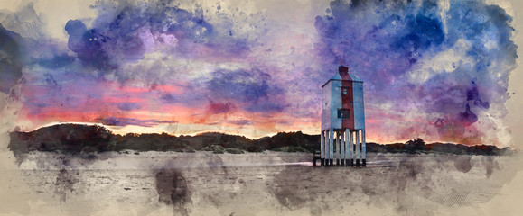 Landscape watercolor painting of vibrant sunrise over wooden lighthouse on beach