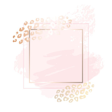Golden pink blank nude art frames. Card design, brush stroke, lines, points, gold, premium brochure flyer, invitation template. Beauty identity elegant style, golden exotic leopard animal skin texture