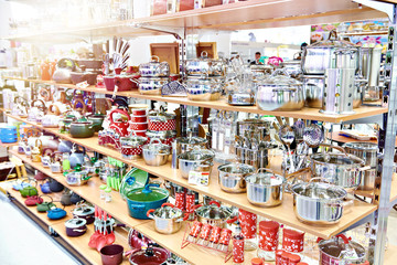Kitchenware in household goods store