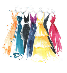 Set of watercolor dresses on hangers, fashion illustration