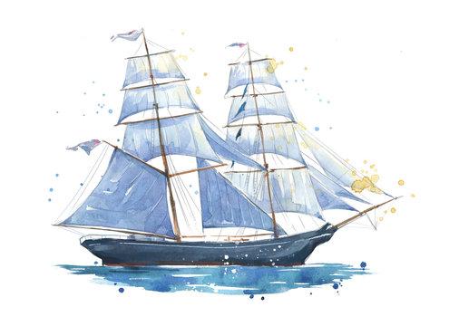 Sailing ship, hand painted watercolor illustration