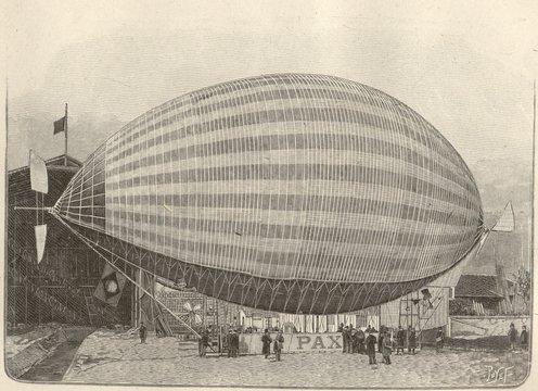 Vista lateral do Pax, dirigível projetado pelo inventor brasileiro Augusto Severo de Albuquerque Maranhão (1864-1902). Desenho publicado na revista francesa La Nature de 24 de maio de 1902