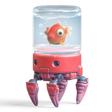3d cartoon character of a red crab robot with aquarium on his head. Сartoon goldfish swims in a glass jar. Illustration of stylized crab with big claws and cute eyes. 3d rendering on white background.