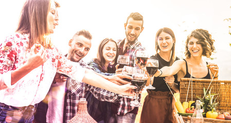 Young friends having fun toasting red wine at vineyard picnic experience- Happy people enjoying harvest time together at farm house winery countryside - Youth friendship concept on psychedelic filter