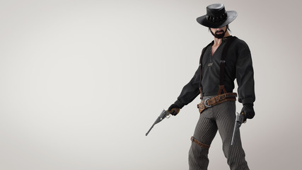 3d illustration of a cowboy standing with two guns on gray background. Cowboy in a black shirt and stripes pants with suspenders. Man with a dark beard in a black leather hat with bullets and holster.
