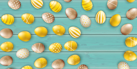 Noble Golden Easter Eggs Sun Wooden Turquoise Header