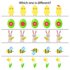 Educational game for preschool kids, which one is different. Spring theme. Vector Easter egg, chick, bunny, flowers and bee.