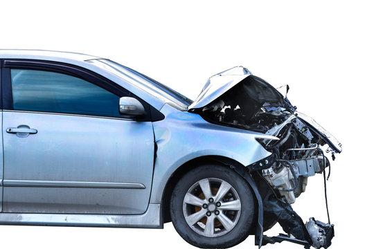 car crash accident on white background