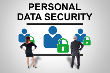 Personal data security concept watched by business people