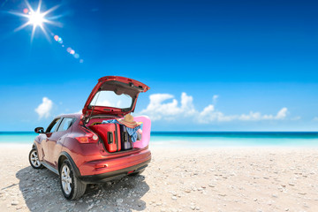 Summer car on beach and sunny day  Wall mural