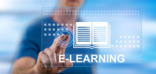 Man touching an e-learning concept