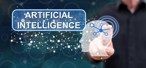 Man touching an artificial intelligence concept