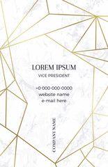 Marble business card with a gold crystal pattern