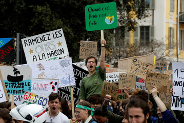 "Students take part in a ""youth strike to act on climate change"" demonstration in Nice"