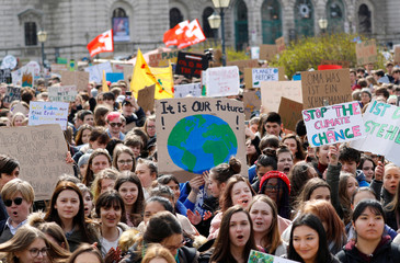 """Youth demonstrate for climate change during the """"Fridays for Future"""" school strike, on Heldenplatz in Vienna"""