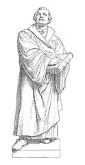 Martin Luther / sculpture by Ernst Friedrich August Rietschel / vintage illustration from Meyers Konversations-Lexikon 1897