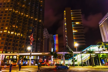 Skyscrapers in downtown Miami at night