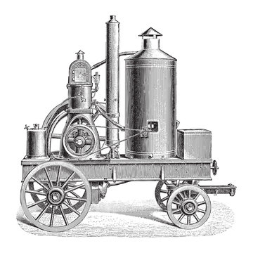 Old traction engine / vintage illustration from Meyers Konversations-Lexikon 1897