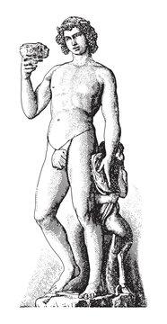 Sculpture of Bacchus (Dionysus) by Michelangelo / vintage illustration from Meyers Konversations-Lexikon 1897