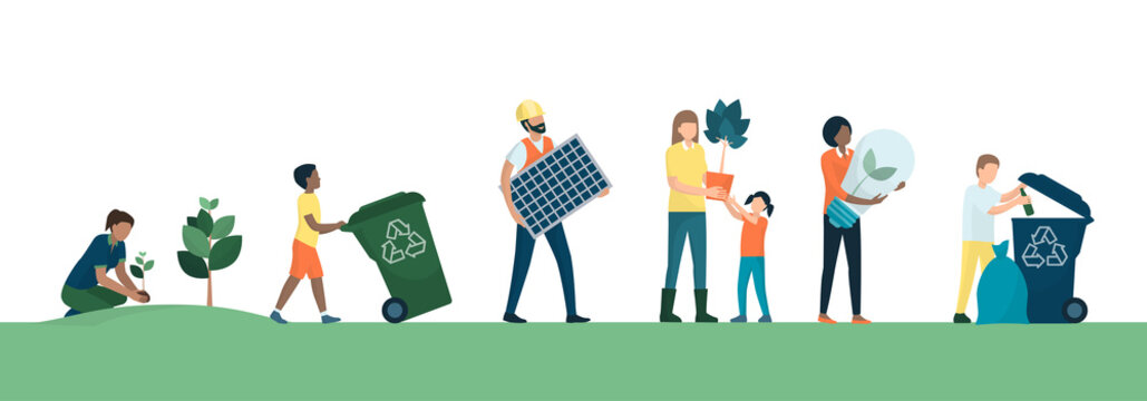 People and sustainable eco-friendly lifestyle