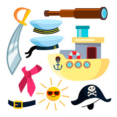 Sailor Icons Pirate Ship Sea Vector. Isolated Flat Cartoon Illustration