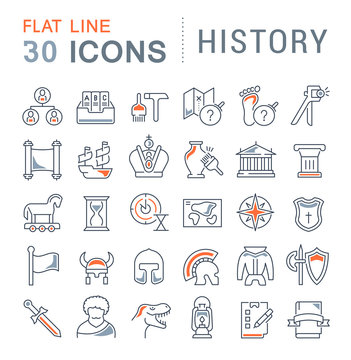 Set Vector Line Icons of History.