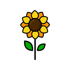 cartoon cute sunflower vector