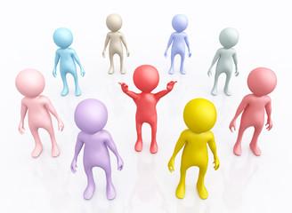 Gruppe mit 3D Figuren