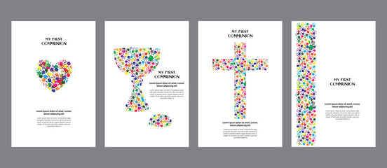 Classic, universal kids hand prints rainbow religious template poster, flyer, invitation card My first communion.