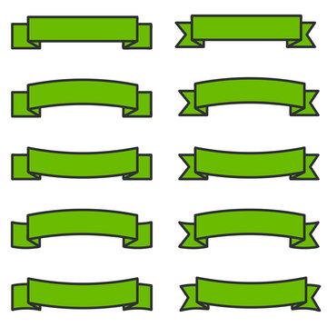 Illustration of green ribbons. Flat design ribbons with dark frames.
