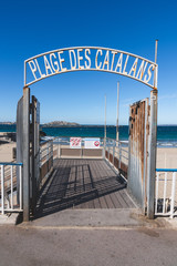 Marseille, Plage des Catalans - Marseille entry of  famous beach of the Catalans