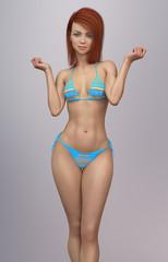 Attraktive junge Frau posiert im Bikini