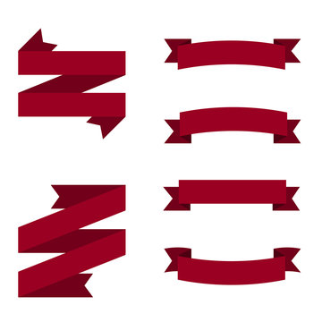 Illustration of maroon retro ribbons. Flat design ribbons.
