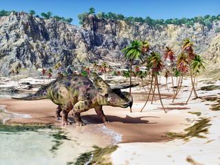 Dinosaurier Nasutoceratops am Strand