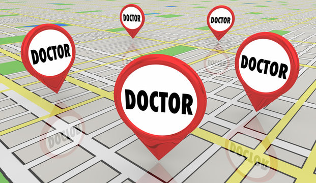 Doctor Physician Medical Help Advice Map Pins 3d Illustration