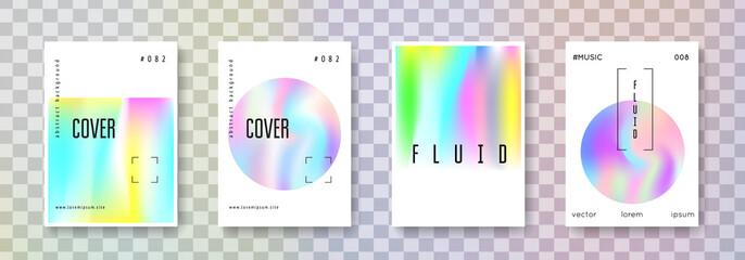 Holographic flyer set. Abstract backgrounds. Rainbow holographic flyer with gradient mesh. 90s, 80s retro style. Iridescent graphic template for placard, presentation, banner, brochure.