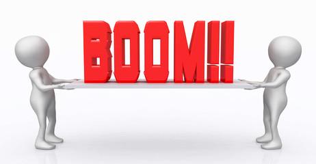 3D Figuren mit dem Wort Boom auf einem Brett