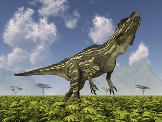Dinosaurier Torvosaurus in einer Landschaft