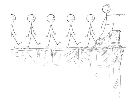 Cartoon stick figure drawing conceptual illustration of man or businessman in heroic pose standing on the edge of the cliff and pointing forward, leading crowd of followers.