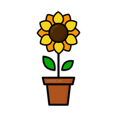 cartoon cute sunflower in a pot vector